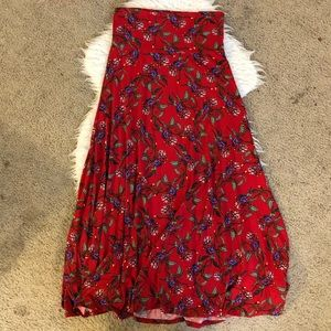 LuLaRoe red floral long maxi skirt elastic waist